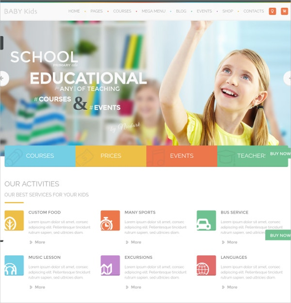 Baby Kids Education & Learning WordPress Website Theme $49