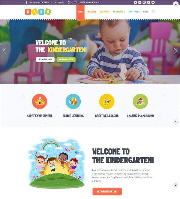 Kid Care & Kindergarten WP Website Theme