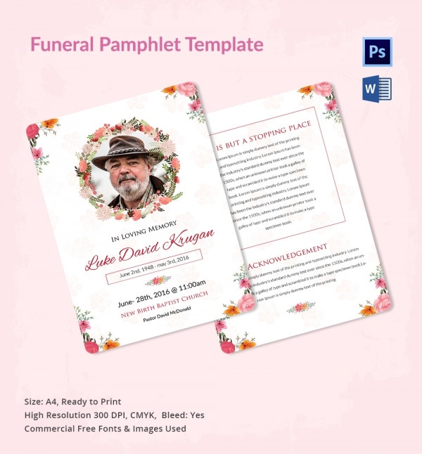 5 funeral pamphlet templates word psd format download for Obituary pamphlet template