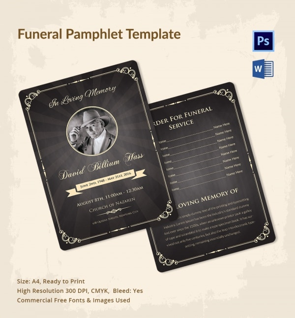 Funeral Invitation Pamphlet Template