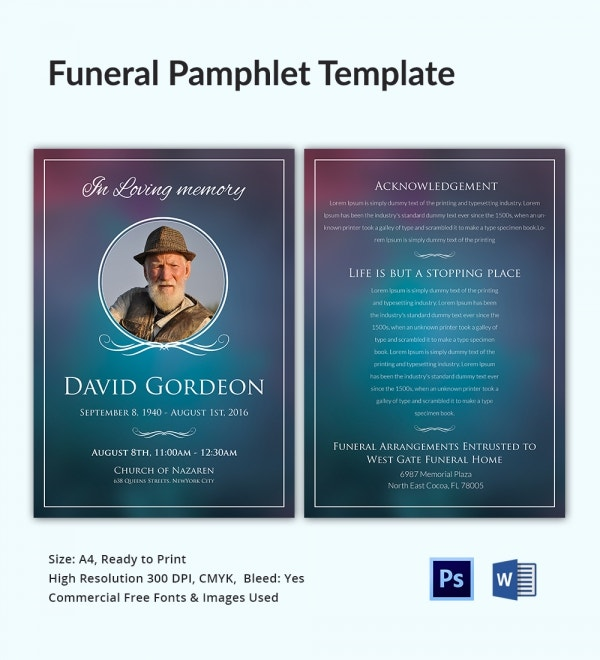 Funeral Pamphlet Templates  Word Psd Format Download  Free
