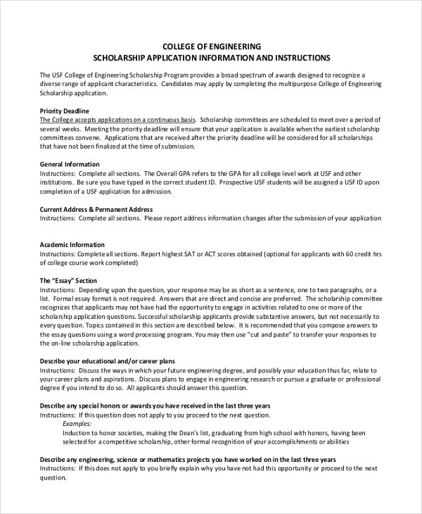 scholarship essay examples premium templates engineering scholarship example