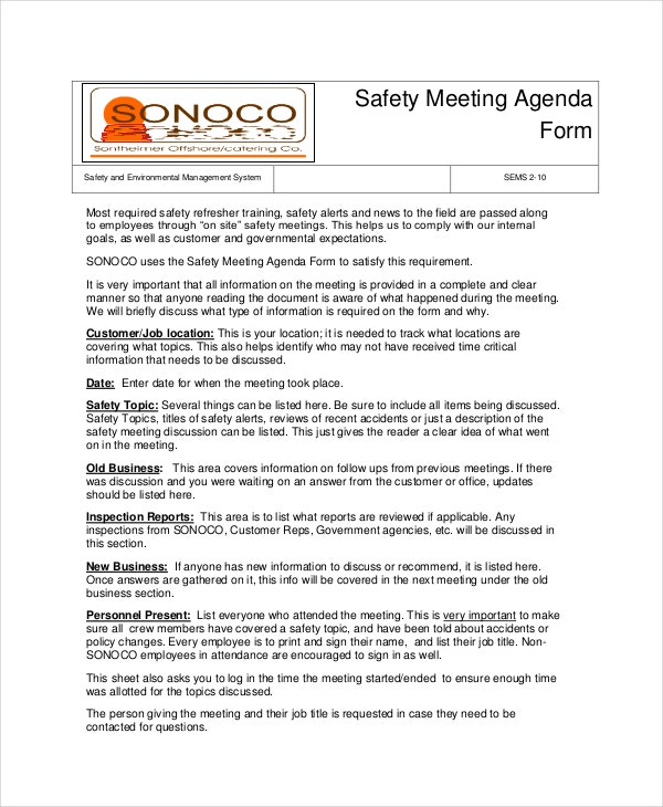 safety meeting agenda template