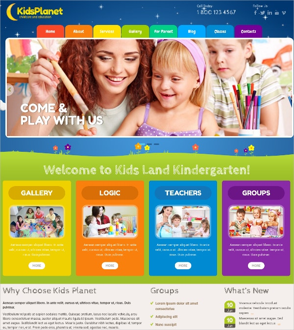 Kids Playschool WordPress Website Theme $36