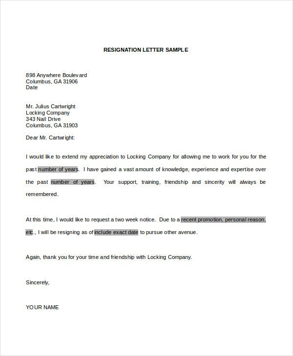 professional resignation letter word doc