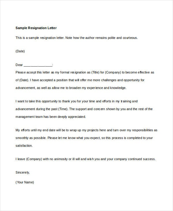 resignation letter 6 free word documents download free