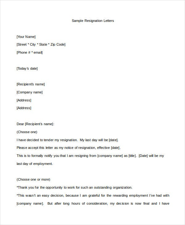 Nursing Resignation Letter Template
