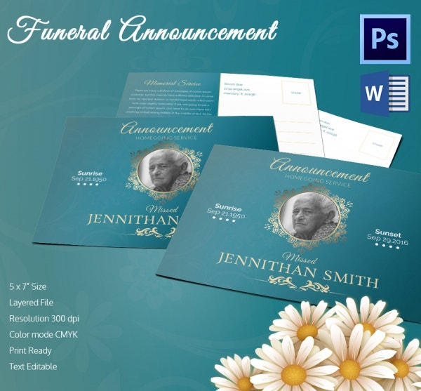5 Funeral Announcement Templates Word PSD Format Download – Funeral Announcement Template Free