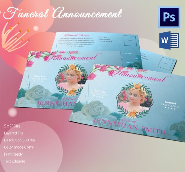 Legal Proof Funeral Announcement Template