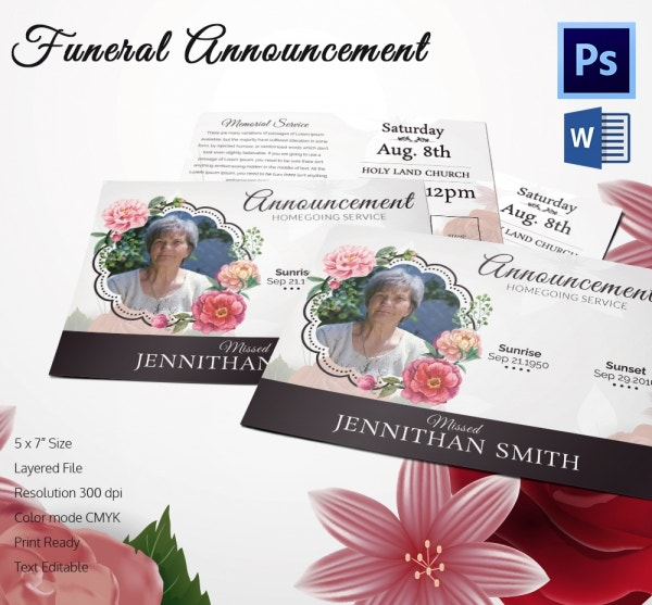 5 Funeral Announcement Templates Word PSD Format Download – Funeral Announcements Template