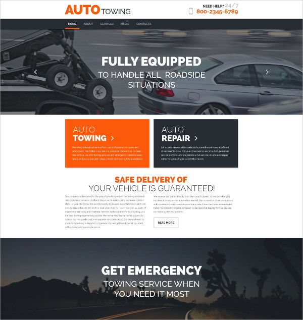 AutoTowing WordPress Website Theme $75