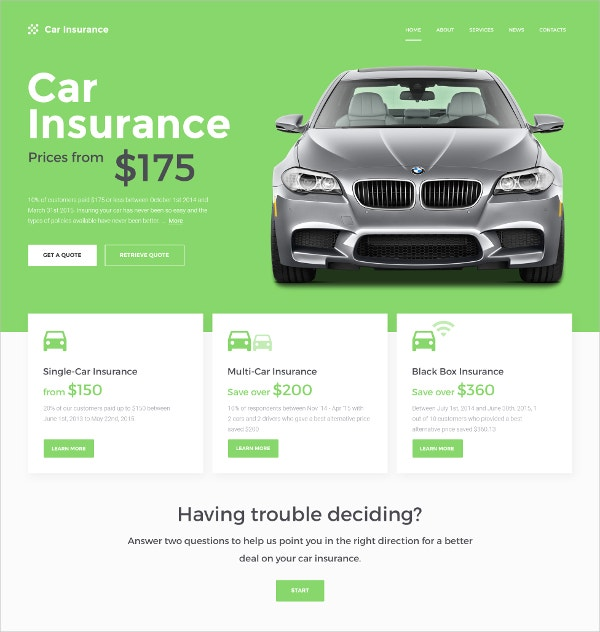 Car Insurance Website Template $75