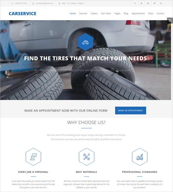 Auto Shop Website Template $59