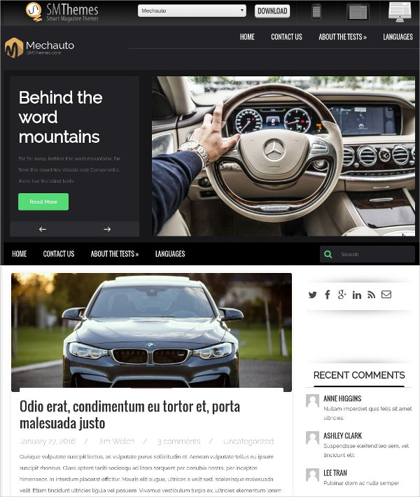 free automobile wordpress website theme