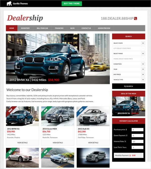 Premium Automobile WordPress Website Theme $39