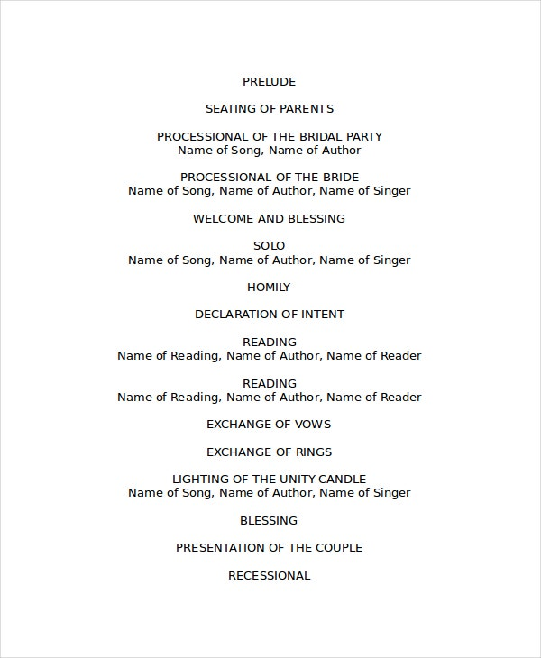 free ms word family wedding program template formal word templates