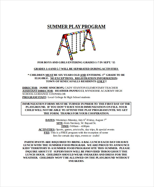 summer play program template word