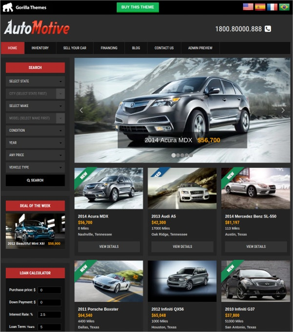 Automobile & Car Dealer WordPress Website Theme $59