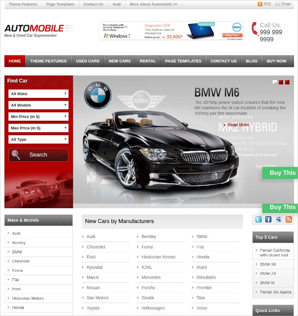 Automobile Business WordPress Website Theme $45