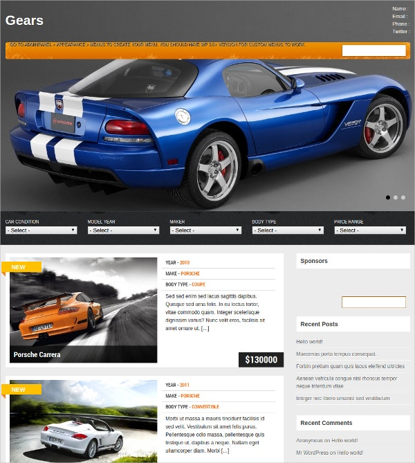 powerful automobile wordpress website theme