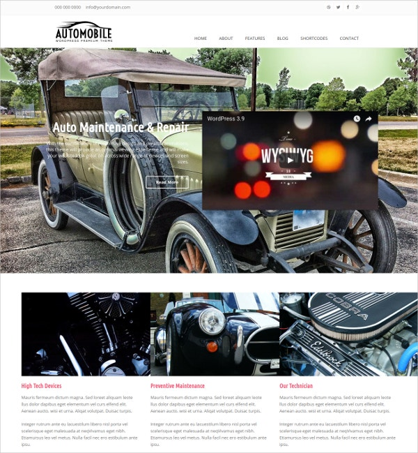 Modern Automobile WordPress Website Theme $29