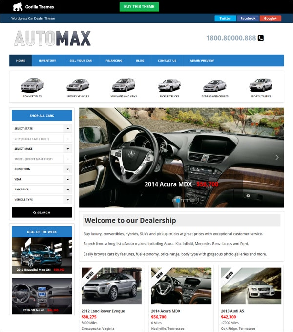Creative Automobile WordPress Website Theme $39