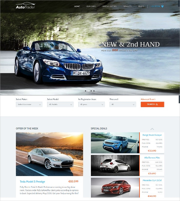 Stunning Automobile WordPress Website Theme $95