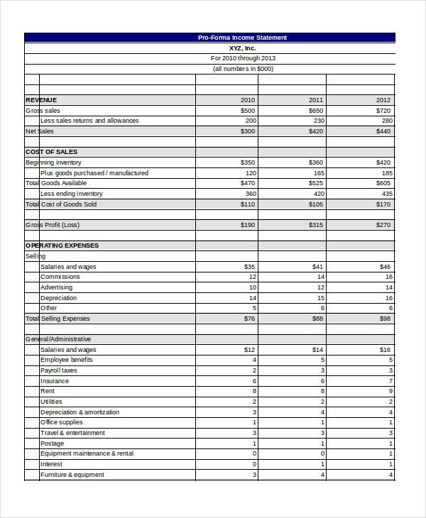 Pro Forma Income Statement Template Excel