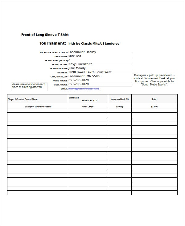t shirt order form template excel