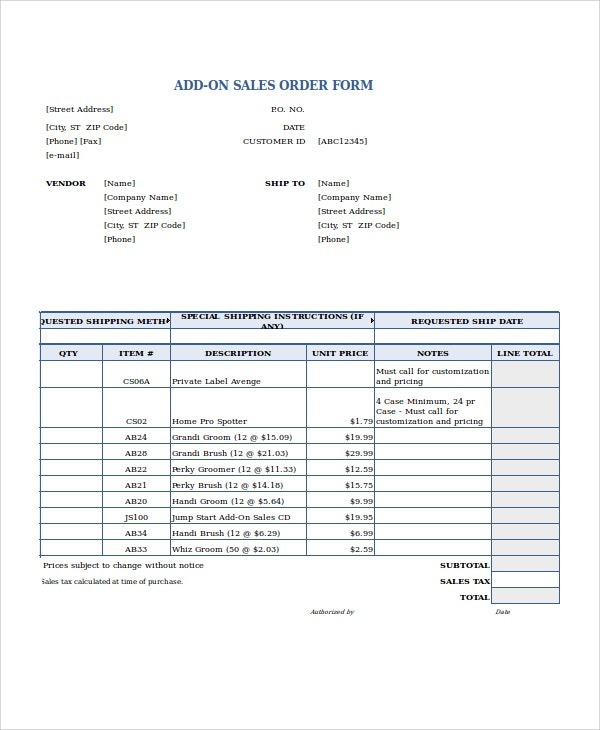 sales order forms templates