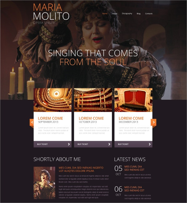 elegant singer website template 69