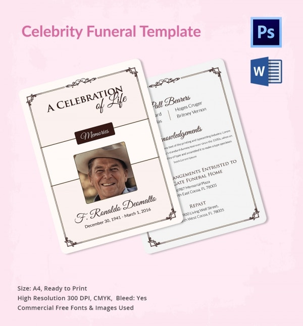 Funeral Templates For Celebrities  Word Psd Format Download