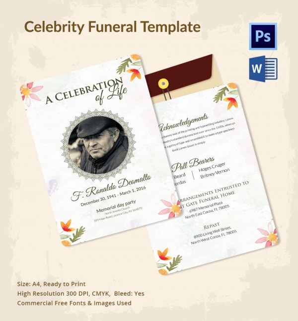 Funeral Program Template for Celebrities