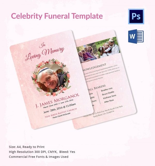 Funeral Prayer Template for Celebrities