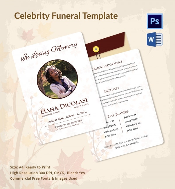 Premium Funeral Template for Celebrities