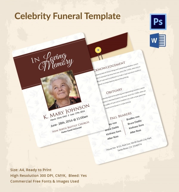 Obituary Funeral Template for Celebrities