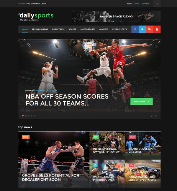 Elegant Sports Website Template $75