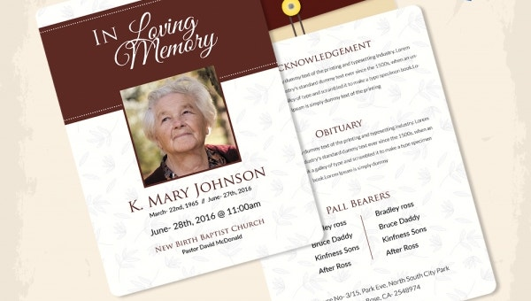 funeral templates for celebrities