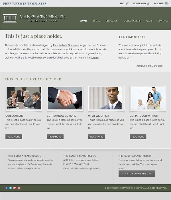 Elegant Free law Firm Office Website Template