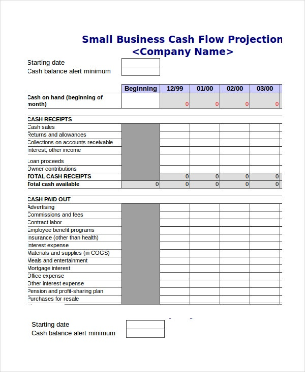 Beautiful Cash Flow Projection Template Intended Cash Template