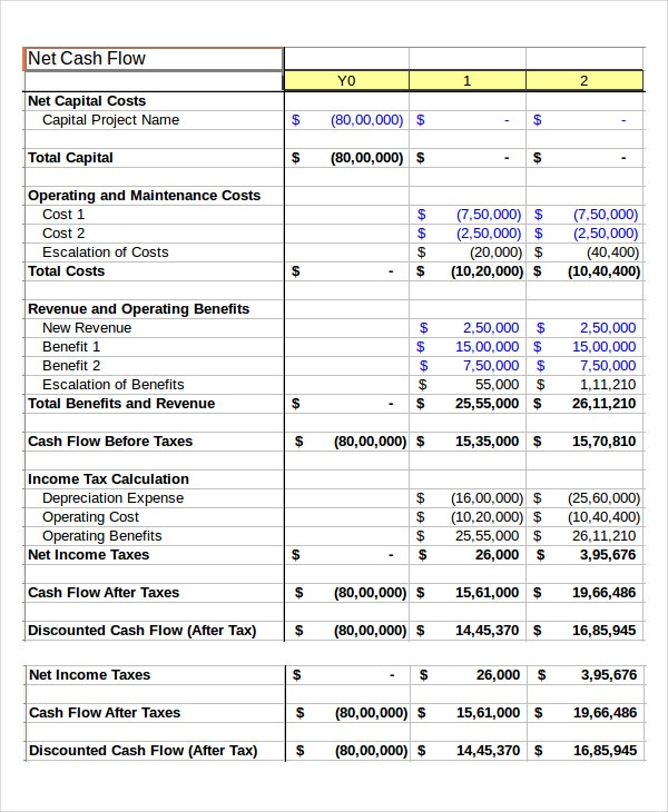 Cash Flow Spreadsheet Template  Cash Template