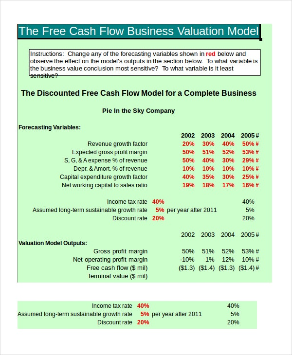 Cash flow excel template 11 free excels download free premium free cash flow valuation template wajeb