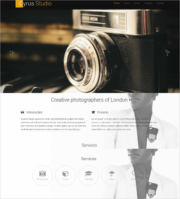 Free Photography Elegant Bootstrap Website Template
