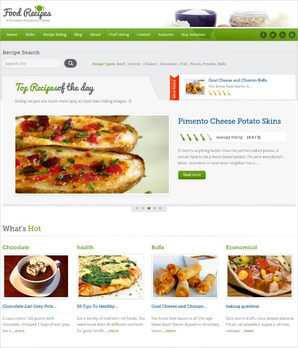 Food & Recipe Website Template $14