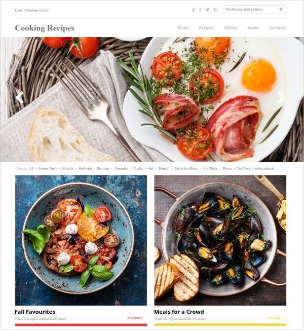 Recipe Website Template HTML5