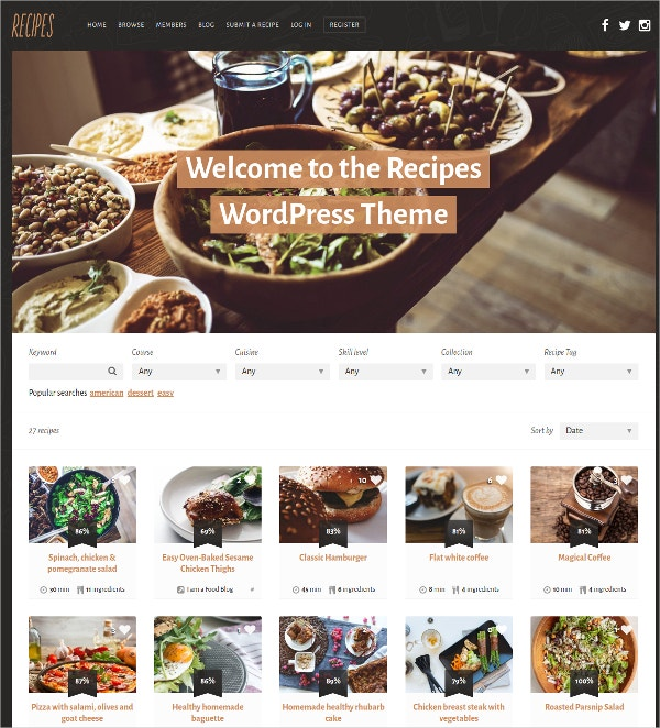 Recipes WordPress Website Theme $49