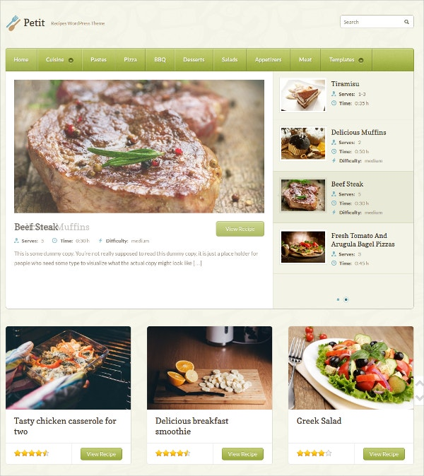 Delicious Recipe Website Theme $69