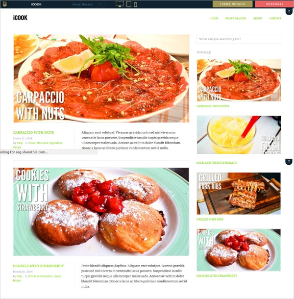 Food, Recipes, Cooking, Cuisine Website Theme $44