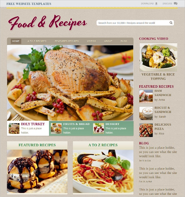 Cooking Recipe WP Website Theme