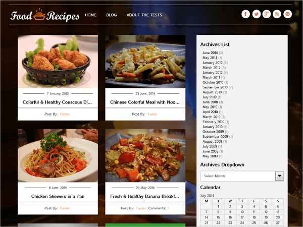Free Food Recipe Website Theme